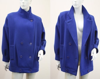 Oversized Bright Blue 80's Slouch Wool Coat