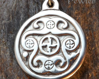 Luck Charm - Pewter Pendant - Celtic Norse Jewelry, Necklace, Strength, Will Power