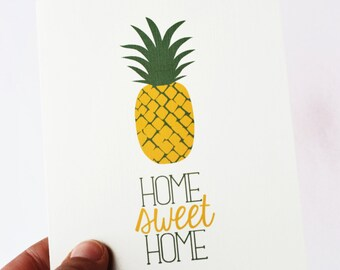 new home card, new house card, housewarming card, house warming card, welcome home, foodie card, pineapple card, home sweet home card