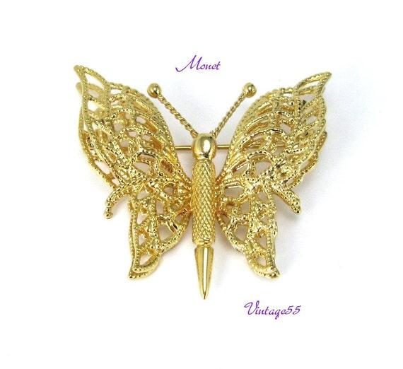 Monet Brooch Butterfly Goldtone Filigree