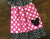 Black and hot pink Minnie Mouse Dress with personalization