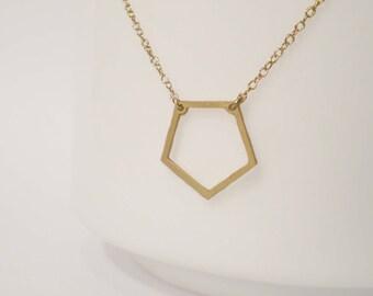 Pentagon Necklace - Geometric Necklace - Delicate Pentagon Charm
