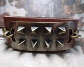 Simple Steampunk Dark Brown Leather Spike Cuff Adjustable