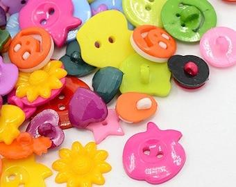 Random Button Mix - Set of 50 - Acrylic - #BUTTON124