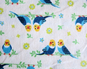 Japanese Cotton Fabric - Blue and Yellow Birds - Half Yard
