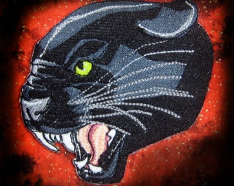 Growling Black Panther head Iron on Patch ready to ship