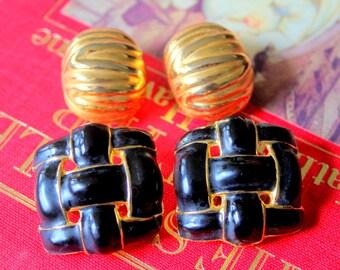 Vintage Earrings Lot Clip On Gold Tone Enameled