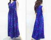 60s Neon Maxi Dress, Vintage Blue Tiki  Dress, Hawaiian Dress, Fuchsia Floral, Tropical Print, 1960s Maxi, Psychedelic Maxi, Size Small