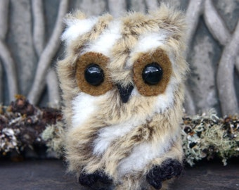 Baby Downy Owl furry little friend (1) eco friendly stuffed animal swirl mix pattern faux fur friend toy (woolcrazy)