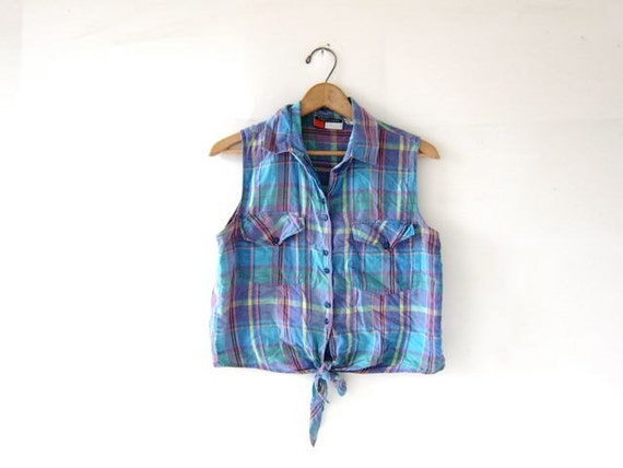Sale Vintage Cropped Tank Top Plaid Belly Shirt Tie Front