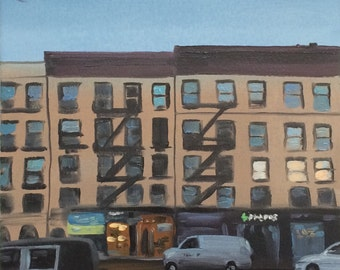 """Moon Over 8th Avenue, original oil painting on paper, 9"""" x 12"""""""