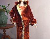 Gene or Deja vu - Velvet Evening Coat - Satin Flapper Dress and Accessories - Circa 1927