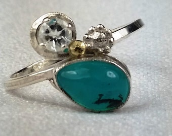 Gem Grade Peruvian Blue Opal White Topaz 18k gold,Sterling Silver Ring Size 7.75, Free US Shipping