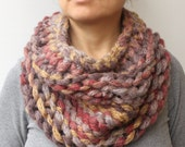 Chunky Thick Cowl Scarf  Brown Yellow Degrade Hand Knit  Women's Scarves