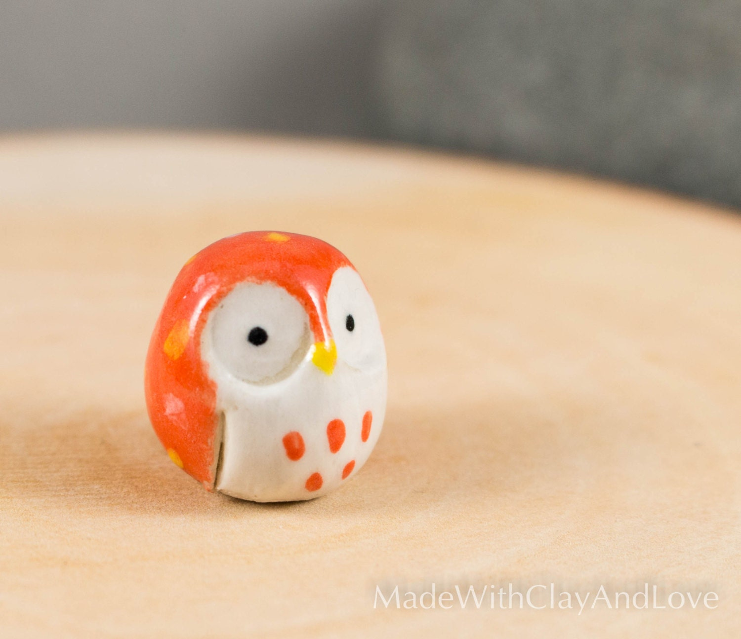 Little Orange Barn Owl Miniature Ceramic Animal Hand