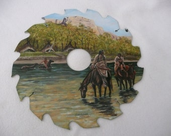 Collectable Native American Oil Art Painting of Indian Village on Round Saw Blade
