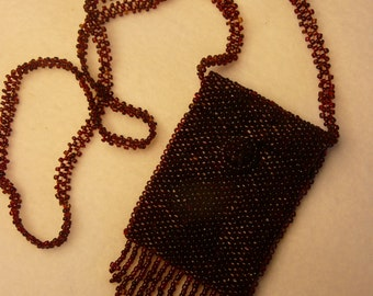 Embroidery Beaded Burgundy Victorian Mini Trinket Pouch Necklace