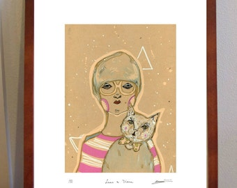 NEW// Luna and Diana - a4 size quirky limited edition print of hipster girl and cat
