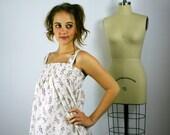 White Floral Sundress, Women's Dress, Tunic, Tunic Dress, Summer Dress, Women's Dress,  Floral Mini Dress, Spring Dress