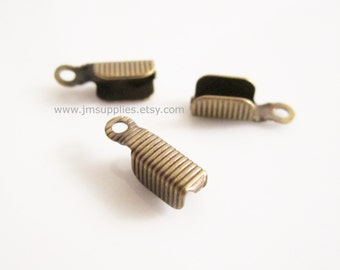 Cord End, Antiqued Gold, 11x3.5mm Corrugated Rectangle, 3mm Inside Diameter