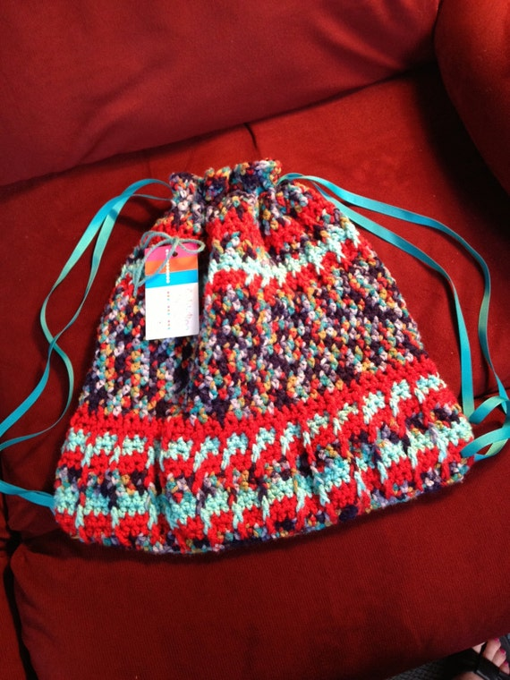 Very Colorful Backpack Made from Red, Aqua, Navy, Blue...