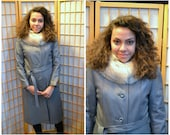 70s grey leather trench coat with fox fur collar womens size medium