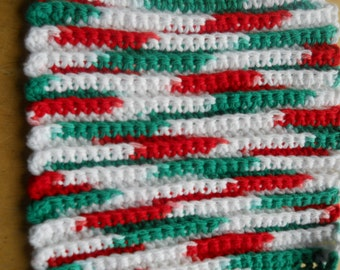 Red White Green DishRag holiday dish cloth Cotton Reusable Dishcloth Crocheted USA  dishcloth multicolored square dish cloth Made in USA
