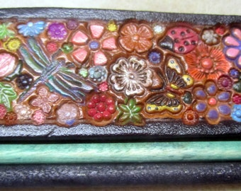 Dark Brown Border Leather Hair Barrette with Colorful Flowers Birds Butterflies  and Two Sticks