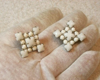 Milk Glass Screw Back Earrings / Squares And Rounds / 1930s 40s