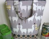 Trendy Llama love Insulated Lunch Bag, lunch tote, lunch sack, Llama bag, llama zipper bag