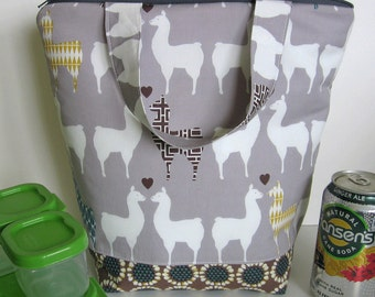 Trendy Llama love Insulated Lunch Bag, lunch tote, lunch sack, Llama bag, llama zipper bag