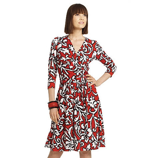 Knitting Pattern Wrap Dress : Wrap Dress Sewing Pattern Womens Knit Dress Pattern by ZipZapKap