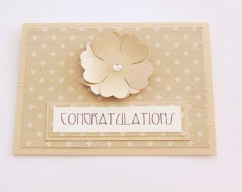 Beige Congratulations Card, Graduation Card, Engagement Card