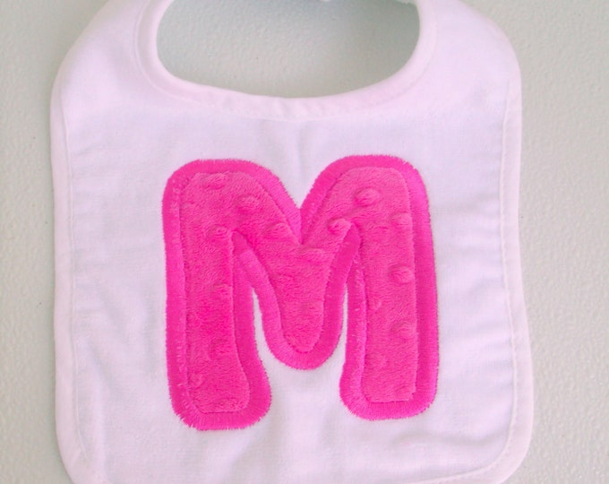 Applique Initial Baby Bib - thick white terry cloth