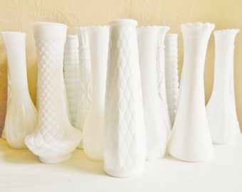 Wedding Set Lot of 20 White Milk Glass Vases Table Decor
