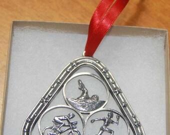 Triathlon Ornament in Triangle - Bicycle Ornament - Male