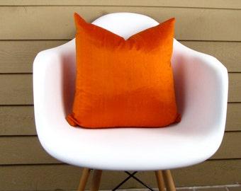Orange Silk Pillow Cover,  BURNT ORANGE PILLOW Cover, Silk Toss Pillow Cover , Accent PillowCover , Throw Pillow Cover