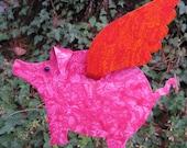Garden art sculpture decor Flying Pig metal yard art stake when pigs fly outdoor living pink orange 9 x 11