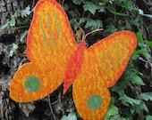 Art sculpture butterfly orange recycled metal garden art