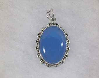 Beautiful Blue Onyx Pendant/Necklace set in Heavy Silver, Natural Stone