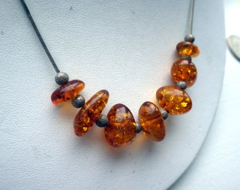 Viintage Amber Smooth Necklace - Sterling Silver.