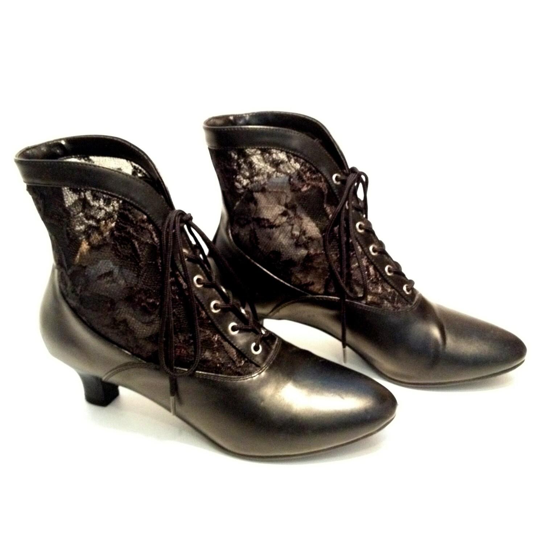 viktorianische booties stiefel vintage schwarz leder spitze. Black Bedroom Furniture Sets. Home Design Ideas