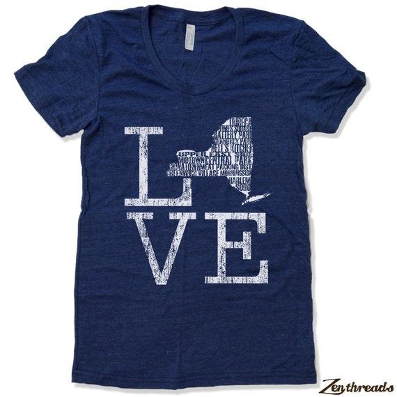 Womens New York Ny Love T Shirt Custom Printed By Zenthreads