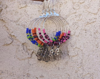 Beaded hoop earrings, Hamsa charm, Hamsa hand, colorful earrings, Zen, Yoga, Bohemian jewelry, hand of Fatima, beaded earrings, boho jewelry