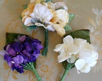 Faux Velvet Floral Pins
