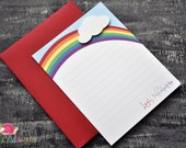 Rainbow Personalized Stationery · A2 FLAT · Coordinating Thank You Notes for Rainbow Invitations