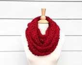 Red crochet scarf, red crochet cowl, red infinity scarf, red endless scarf, crochet infinity scarf, red cowl scarf, ruby red scarf