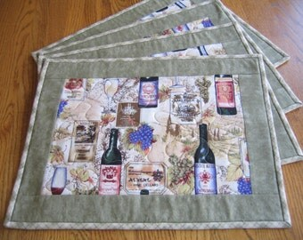Quilted Placemats  in a Wine Pattern - Set of 4