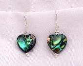 Paua Shell Heart Earrings...