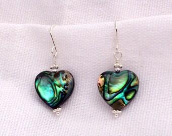 Paua Shell Heart Earrings
